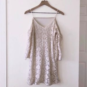 Skies are blue cream lace cold shoulder dress